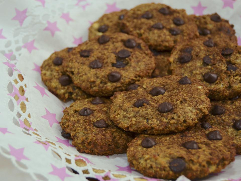 Cookies de avena, plátano y chocolate